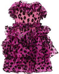 Christopher Kane Leopard-flocked Ruffled Silk-organza Mini Dress - Pink