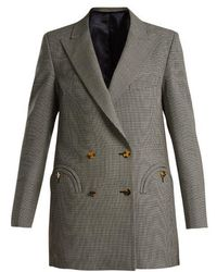 Blazé Milano - Kentra Houndstooth Double-breasted Wool Jacket - Lyst