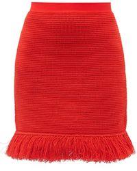Bottega Veneta Fringed Knitted Cotton-blend Mesh Mini Skirt - Red