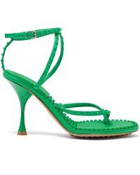 Bottega Veneta Lagoon Bubble-insole Leather Sandals - Green