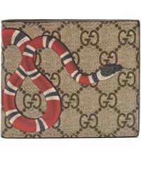 1026126e34a2 Gucci - Gg Supreme Kingsnake Bi Fold Wallet - Lyst