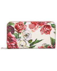 Dolce & Gabbana - Rose-print Leather Continental Wallet - Lyst