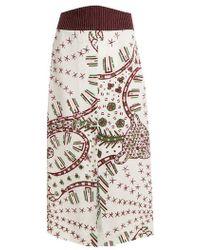 Valentino - Graphic-print Crepe Midi Skirt - Lyst