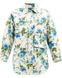 Richard Quinn Sakura Oversized Floral-print Denim Shirt Jacket - Blue
