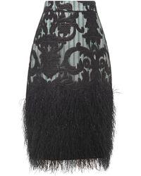 Ganni Jupe crayon en organza et jacquard à plumes - Noir