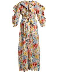 Horror Vacui Robe en coton à imprimé floral et bords festonnés - Multicolore