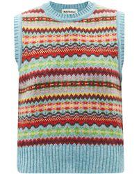 Molly Goddard Bibi Fair-isle Lambswool Sleeveless Sweater - Blue