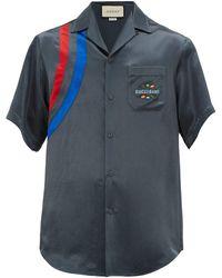 Gucci Band-embroidered Satin Bowling Shirt - Blue