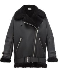 Acne Studios Velocite Leather And Shearling Aviator Jacket - Black