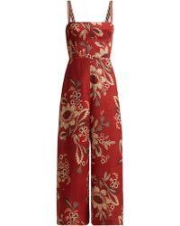 Zimmermann - Juno Floral Print Linen Jumpsuit - Lyst
