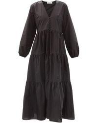 Matteau The Long Sleeve Button オーガニックコットンマキシドレス - ブラック