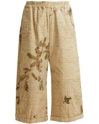 By Walid - Hazy Jungle Print Cotton Canvas Wide Leg Trousers - Lyst