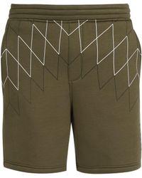 Neil Barrett - Mid Rise Line Print Jersey Shorts - Lyst