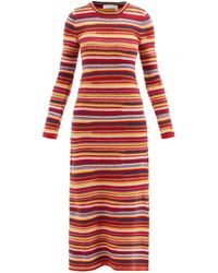 Chloé Striped Recycled-cashmere Knit Dress - Red