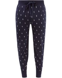 Polo Ralph Lauren Logo-print Cotton-jersey Pyjama Trousers - Blue