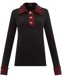 Dolce & Gabbana ツイードトリム ウールブレンドセーター - ブラック