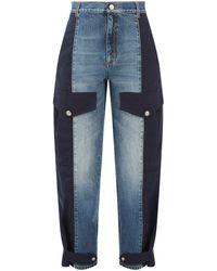 Alexander McQueen バイカラー ボーイフレンドジーンズ - ブルー