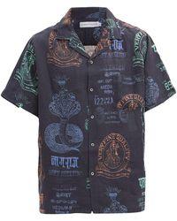 Desmond & Dempsey カーン マーケット リネンパジャマシャツ - ブルー
