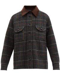 Blazé Milano Blazé Milano ベルベル チェック ウールツイードシャツジャケット - ブラック