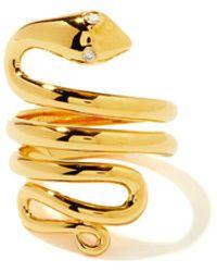 Theodora Warre Snake Diamond & Gold-plated Sterling-silver Ring - Metallic