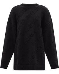 Balenciaga ロゴジャカード オーバーサイズ コットンセーター - ブラック