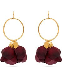 Elise Tsikis - Natura Silk Flower Gold Plated Brass Hoop Earrings - Lyst