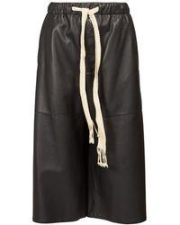 Loewe Drawstring Leather Culottes - Black