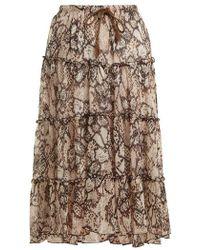See By Chloé - Snakeskin-print Chiffon Skirt - Lyst