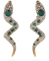 Gucci Crystal-embellished Snake Clip Earrings - Green