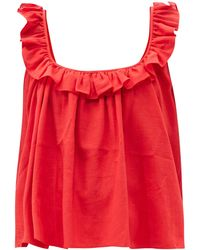 Loup Charmant Tula Ruffled Cotton Top - Red