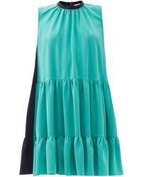ROKSANDA アキサ カラーブロック ティアードクレープドレス - ブルー