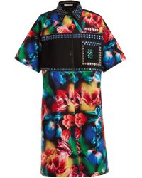 Miu Miu - Flower Print Embellished Stretch Denim Dress - Lyst