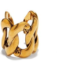 Alexander McQueen - Skull-debossed Chain Ring - Lyst
