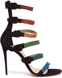 Christian Louboutin Raynibo 100 Crystal-embellished Suede Sandals - Black