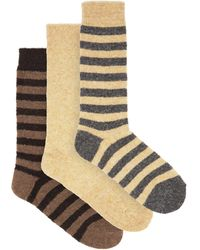 Howlin' By Morrison Pack Of Three Striped And Plain Wool-blend Socks - Multicolor