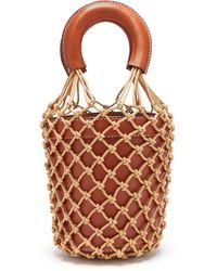 STAUD Moreau Macramé And Leather Bucket Bag - Multicolour