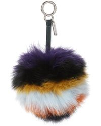 Fendi | Striped Fox-fur Pompom Bag Charm | Lyst
