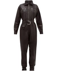 Dodo Bar Or Barbara Zipped Leather Jumpsuit - Black