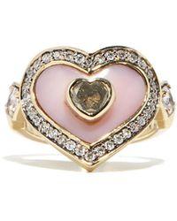 Noor Fares Bague en or 18 carats, opale et diamants Anahata - Métallisé