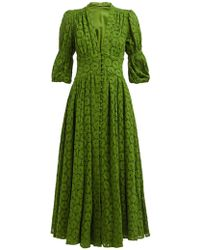 Cult Gaia Willow Puff Sleeve Eyelet Lace Maxi Dress - Green