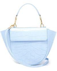 Wandler Hortensia Mini Crocodile Effect Leather Bag - Blue