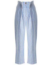 Anna October - Striped Pintucked Linen Trousers - Lyst