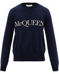 Alexander McQueen ロゴ コットンスウェットシャツ - ブルー