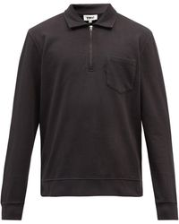 YMC Sugden Quarter-zip Cotton-jersey Sweatshirt - Black