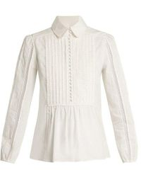 Chloé - Lace-insert Pleated-bib Cotton Shirt - Lyst