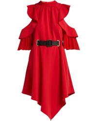Self-Portrait - Cut Out Ruffle Sleeve Belted Mini Dress - Lyst