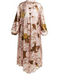 By Walid - Print Silk Satin Dress - Lyst