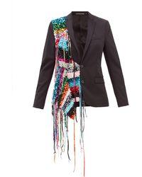 Germanier Recycled Sequin Strand Twill Blazer - Black