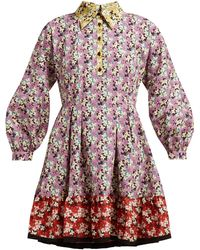 Valentino Spring Garden Print Collared Cotton Dress - Multicolour