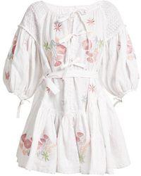 Innika Choo - Balloon-sleeve Linen Peasant Dress - Lyst